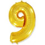 Воздушный шар (40''/102 см) Цифра, 9, Золото,